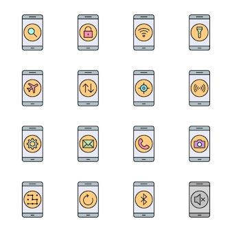 개인 및 상업적 사용을위한 모바일 앱의 16 아이콘 세트
