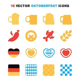 16個のオクトーバーフェストアイコンが設定されています。ビール祭り。ベクター