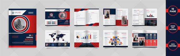 16 page annual report design with deep blue and red color abstract shapes and information.