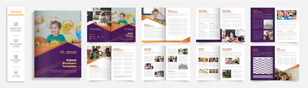 16 page back to school education admission bifold brochure template company profile design