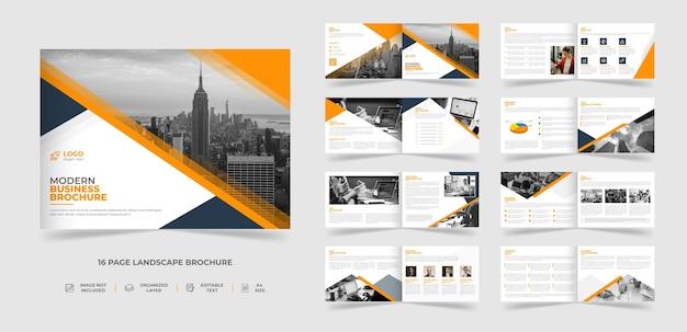 16 ページの企業の創造的なモダンな風景のパンフレットのテンプレート デザイン