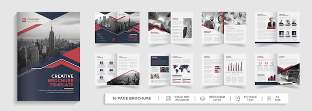 16 page corporate modern bifold business brochure and company profile template design