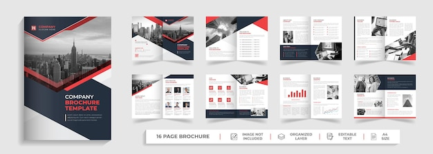 16 page corporate modern bifold multipage brochure template with red and black creative shapes