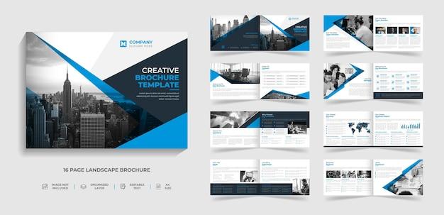 16 페이지 기업 현대 풍경 2단 브로셔 템플릿 회사 프로필 연례 보고서 디자인