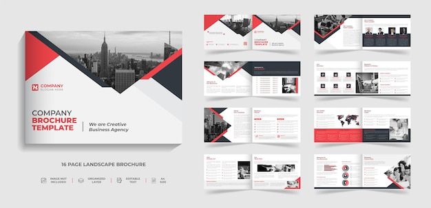 16 page corporate modern landscape bifold  brochure template company profile annual report design