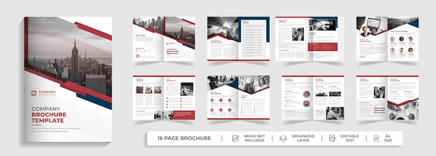16 page creative modern corporate company profile and bifold multipage brochure template design