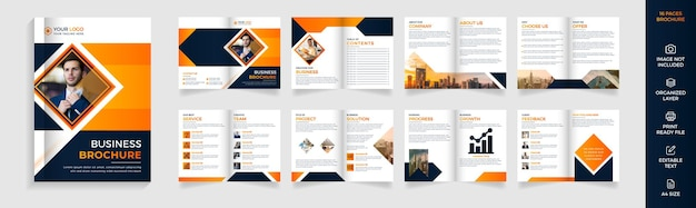 16 page modern corporate business brochure template design Premium Vector