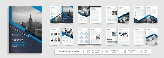 16 page modern corporate professional bifold business brochure and company profile design with blue and black shape