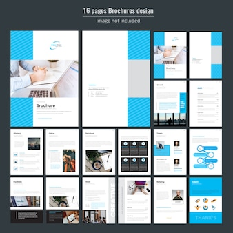 16 Pages Blue Business Brochure Template