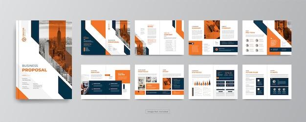 16-страничный корпоративный бизнес-брошюра дизайн шаблона годового отчета или профиля компании для маркетинга