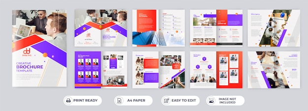 16 pages corporate business brochure templates
