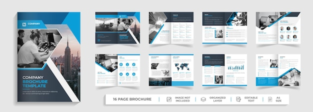 16 pages creative modern corporate company profile and bifold multipage brochure template design