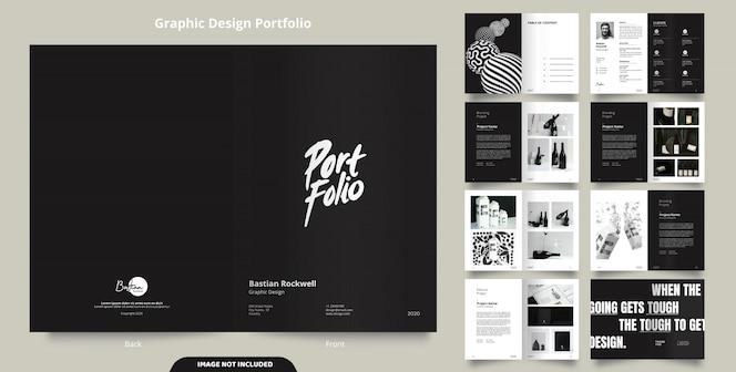 16 pages of minimalist black portfolio design