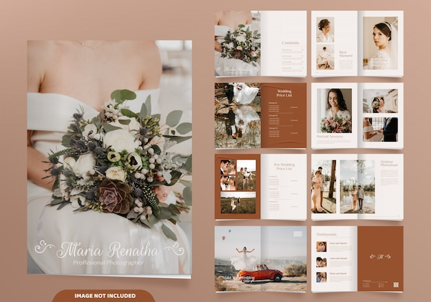 16 pages of minimalist wedding photography brochure design