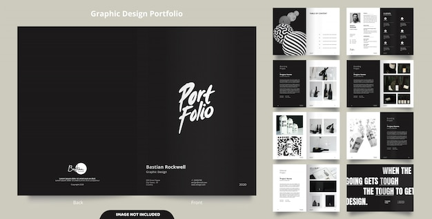 16ページのミニマリストブラックポートフォリオデザイン