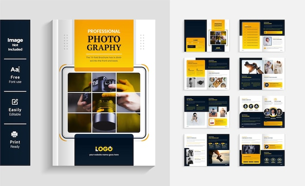 16 pages photography brochure design template colorful and modern layout