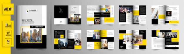 16 pages yellow business brochure