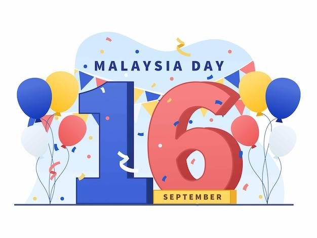 9월 16일 배너 포스터 인사말 카드에 적합한 말레이시아의 날 그림 벡터를 축하합니다.