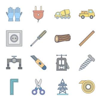 16 set of construction icons isolated on white background