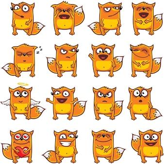 16 смайликов-лисиц, индивидуально сгруппированных для удобного копирования и вставки. (1)