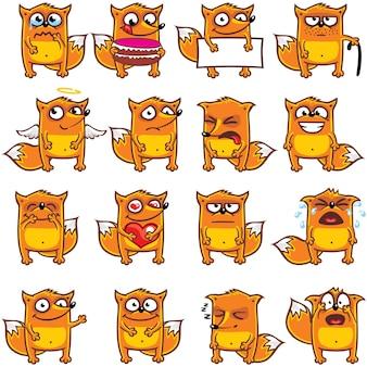 16 смайликов-лисиц, индивидуально сгруппированных для удобного копирования и вставки. (2)