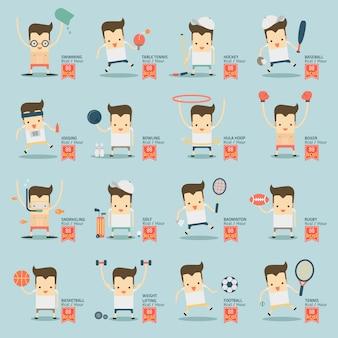 16のスポーツマンアクティビティとカロリー消費のインフォグラフィック