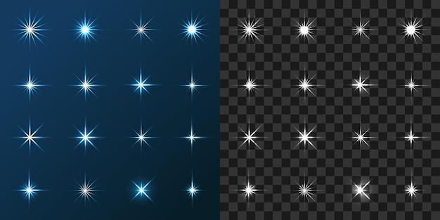 青と灰色の背景に設定された16の星ベクトル