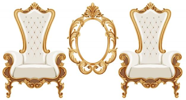 黄金の新古典主義の装飾が施されたルイ16世スタイルの椅子