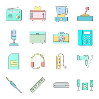 個人用および商用用の電子デバイスの16アイコンセット