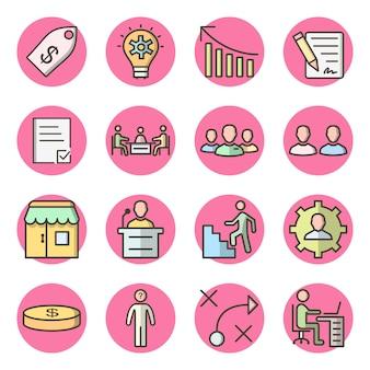 Набор из 16 бизнес иконок на белом вектор изолированных элементов