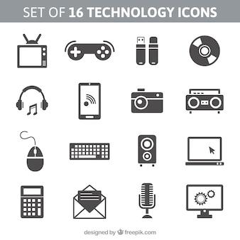 16技術のアイコンのセット