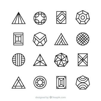 16個の幾何学的モノリンロゴ