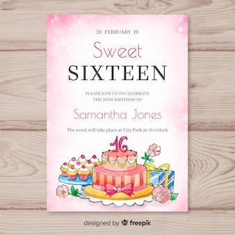 16の誕生日の水彩ケーキのテンプレート
