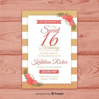 16歳の誕生日の手描きの花のコーナーの招待状のテンプレート