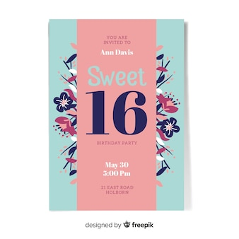 16の誕生日の花のカード
