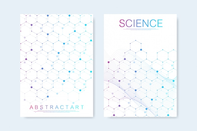 パンフレット、カバー、チラシ、年次報告書、チラシのモダンなテンプレート。六角形の分子構造。科学スタイルで未来的な技術の背景。グラフィック16進数の背景