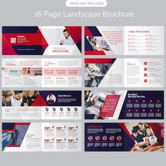 16ページの風景会社概要パンフレットの型板
