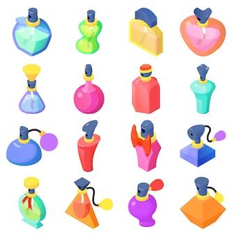 Набор иконок флаконы для духов. изометрические иллюстрация 16 парфюмерных флаконов векторные иконки для веб