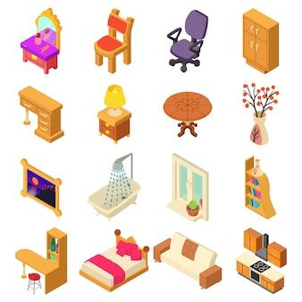 Набор иконок домашнего интерьера. изометрическая иллюстрация 16 домашних интерьеров векторных иконок для веб
