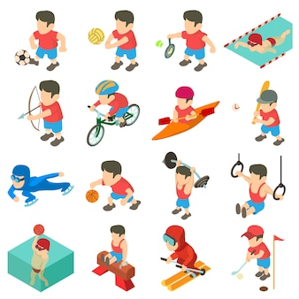 Установить спортивные значки. изометрическая иллюстрация 16 спортивных векторных иконок для веб-сайтов