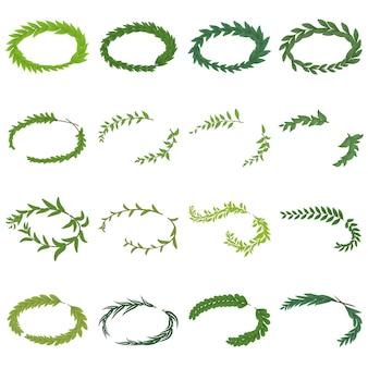Набор иконок лавровый венок. изометрическая иллюстрация 16 лавровых венков векторных иконок для веб