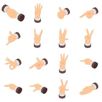 Установленные значки указателя ладони жеста рукой. изометрическая иллюстрация 16 жестов рук ладонью указатель векторные иконки для веб