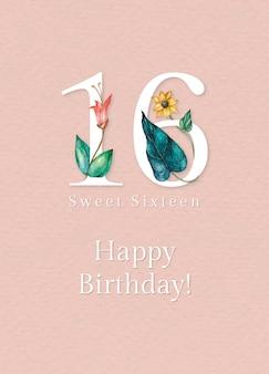 Modello di auguri per il 16° compleanno con illustrazione del numero floreale