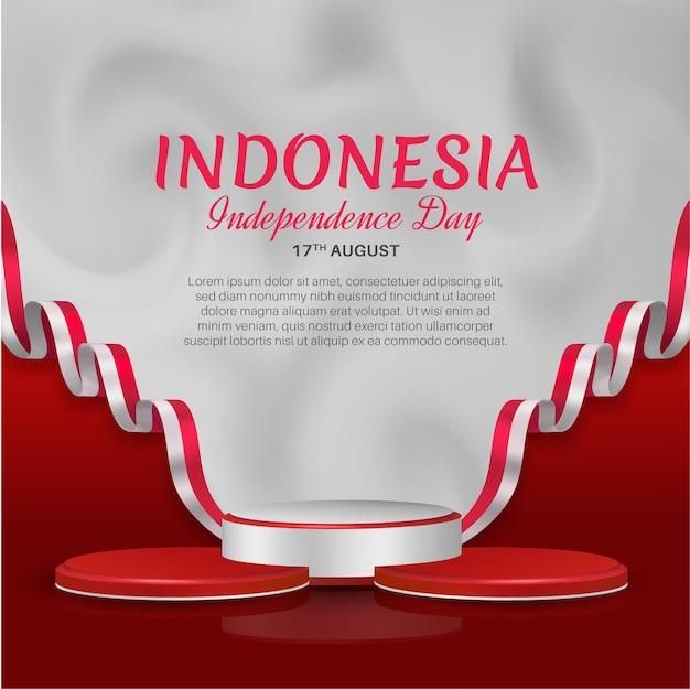 8月17日インドネシア独立記念日ソーシャルメディアチラシテンプレート、3d表彰台とリボンの旗