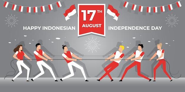 17 августа, день независимости индонезии, векторные иллюстрации