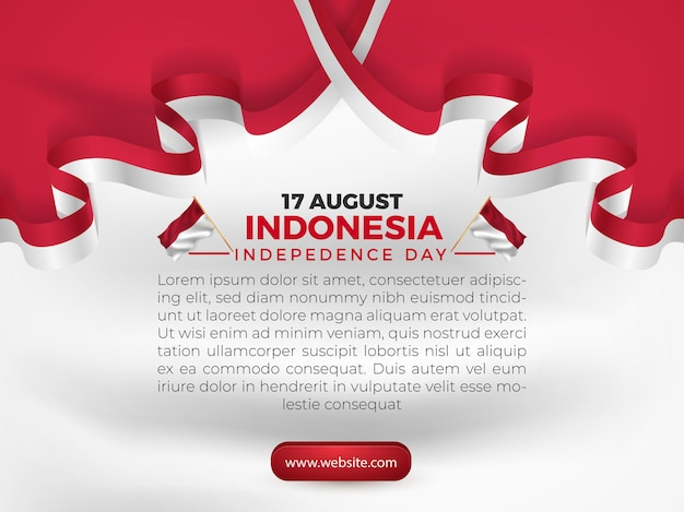 8月17日インドネシア独立記念日greetigカードバナーテンプレートチラシ旗付き