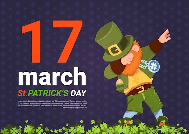 17 march happy st. patricks day with green leprechaun on template background