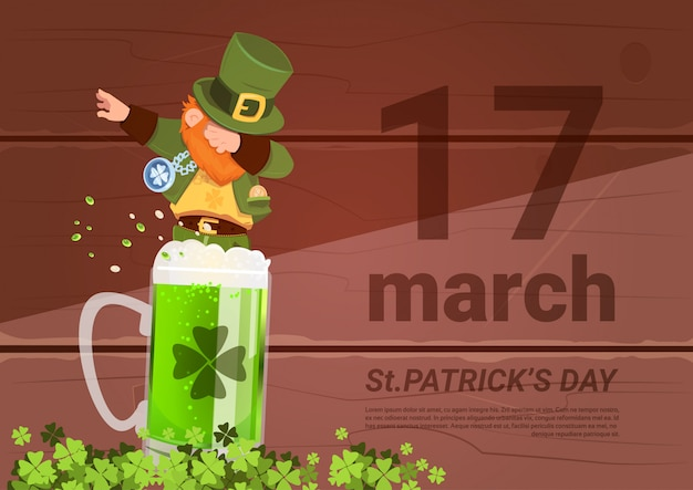 17 march saint patricks day background with green man leprechaun on beer glass