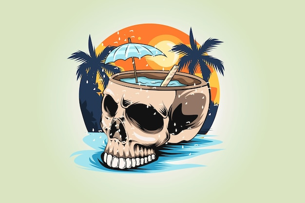 17.summer skull with beauty view background t-shirt