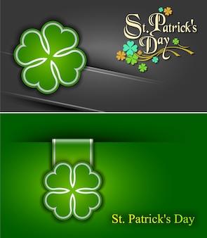 17 марта плакат ко дню святого патрика. кловерлиф и поздравительная надпись в зеленых тонах.